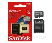 Карта памяти SanDisk microSDHC 32 gb (class 10) (с адаптером)